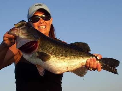 Vonda with her first ever Largemouth Bass